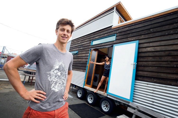 Ben Foster and Fei Ngeow are just weeks from finishing their tiny home. Picture: Matt Jelonek.