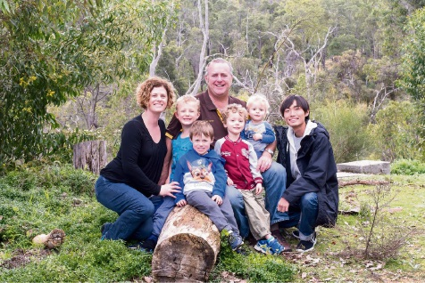 Michelle and Eliot Jones with their children Benjamin, Sebastian, Joshua and William and Japanese student Soma Mano. Picture: Michography