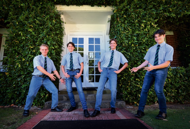 Guildford Grammar School students Lawson Harper (16), Sam Weston (17), Lachlan Compton (17) and Scott Piper (17). Picture: David Baylis d479764