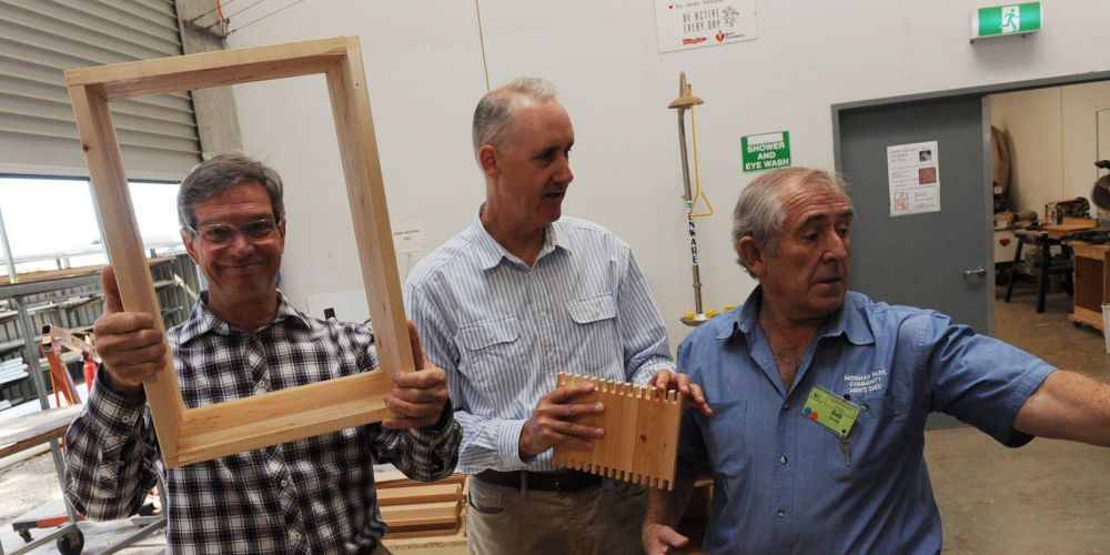 Opposition leader Mike Nahan, Cottesloe by-election Liberal candidate David Honey with Mosman Park Men's Shed overseer Bob Grocke today. Picture: Jon Bassett