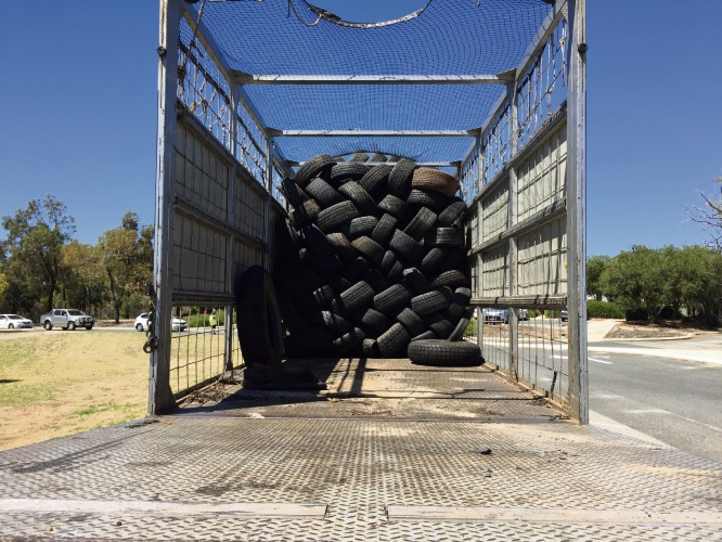 Some of the tyres collected.
