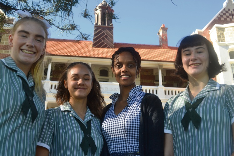 Sophie Rasmussen (Year 11), Jaime Dunn (Year 11), Sara Shengeb and Ciara Thompson (Year 11). Sara gave an inspiring talk at Methodist Ladies' College ahead of International Women's Day, reflecting on her experience as a refugee and encouraging young people to speak out.