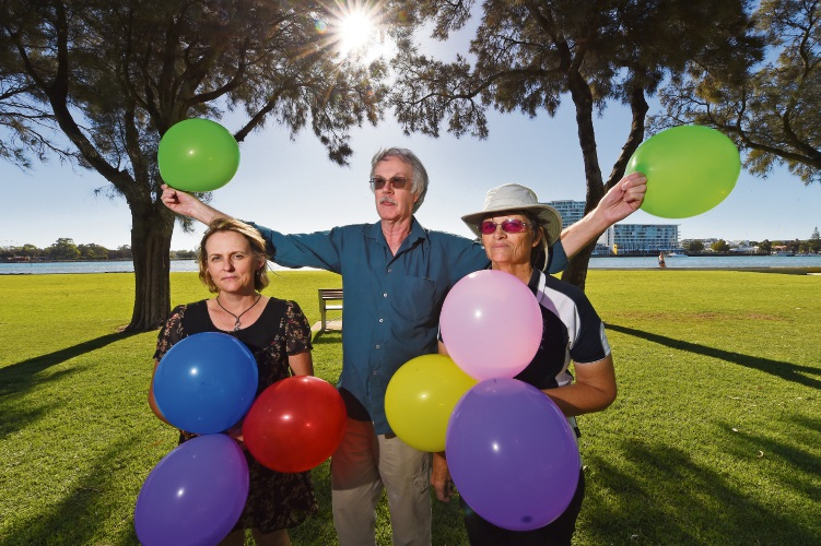 Jo Drew, Mel Tuckey and Barbara Sing don't want to see balloons released outdoors. Picture: Jon Hewson   d479802