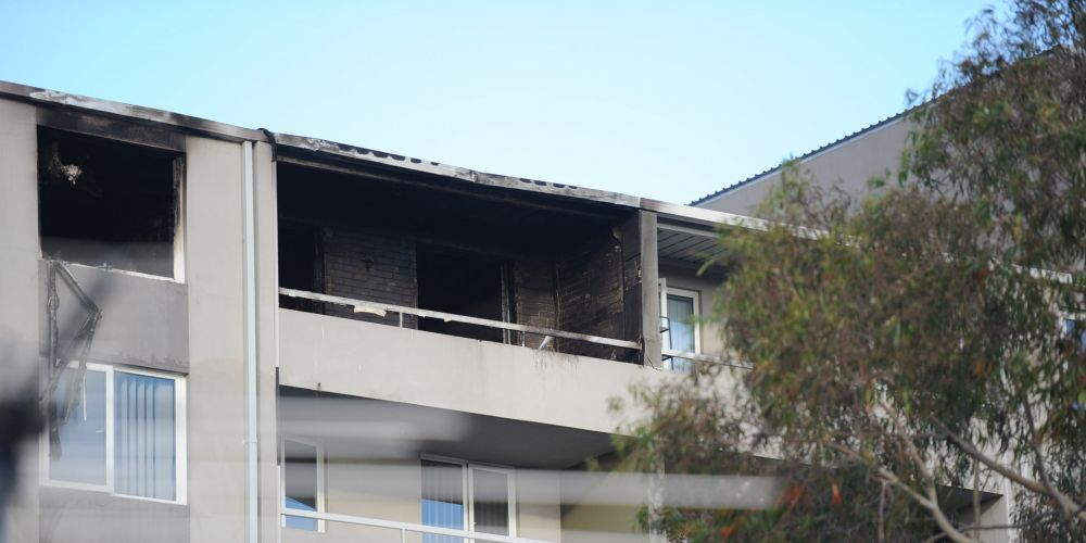 The Mosman Park unit gutted by fire. Picture: Jon Bassett