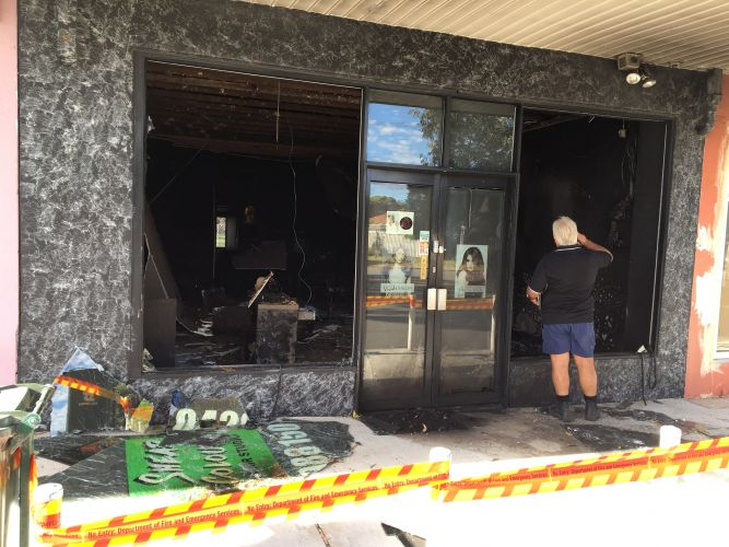 The Yokine hair salon gutted by fire overnight. Picture: J Bianchini