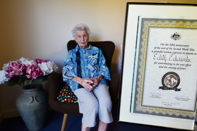 Edith Edwards (97) was a signals operator translating Morse code messages during World War II. Picture: Jon Hewson www.communitypix.com.au   d480107