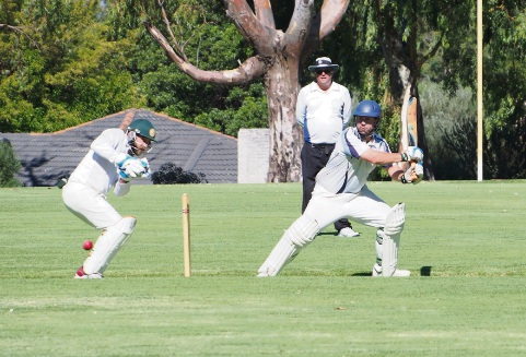 SJ Blues first grade batsman Kane Hoskin late cuts a delivery during his knock of 27.