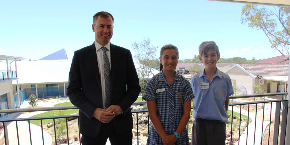 Stirling MHR Michael Keenan with Our Lady of Grace School year 6 students Bronte Begley and Noah Rowley.