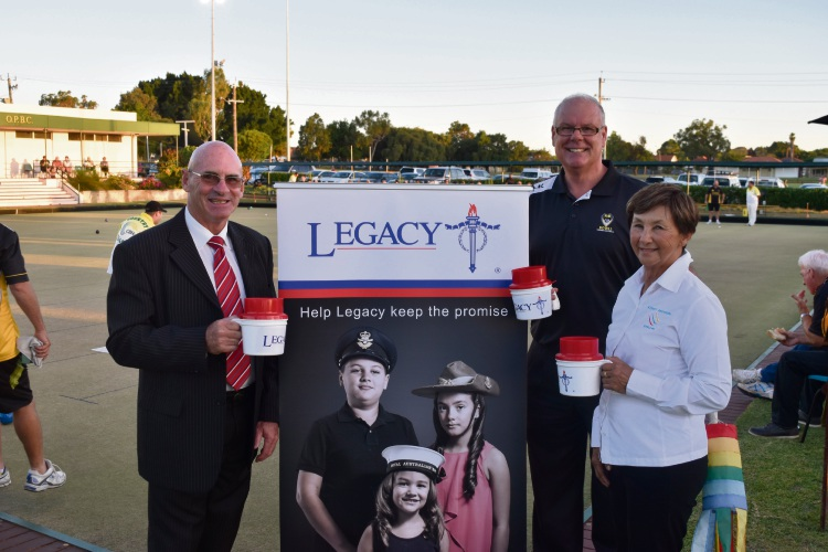 Perth Legacy president Peter Heeney, Bowls WA chief executive Ken Pride and Bowls WA state president Kerry Anderson.