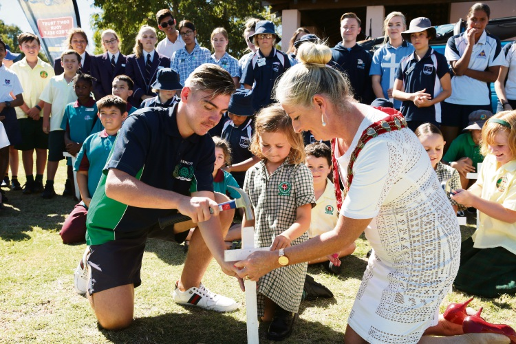 Lachlan Chilton, Emma O'Leary and Wanneroo Mayor Tracey Roberts at last year's blessing of the roads. Picture: Martin Kennealey d467562