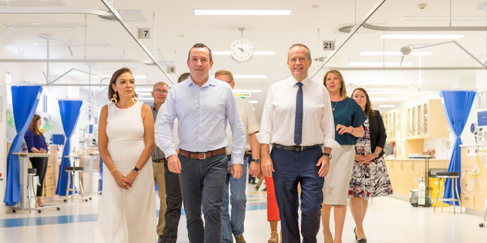 Premier Mark McGowan with Federal Labor leader Bill Shorten and other Labor members at Joondalup Health Campus.