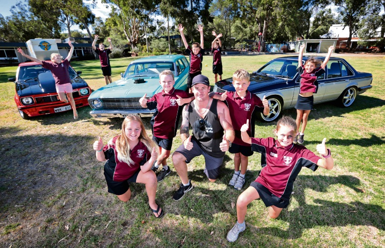 Kyla Jenkins (11) of Lesmurdie, Calder Kennedy-Pugh (10) of Lesmurdie, Matt Ross of Walliston (Member of Wally Boys Racing), Dane Money (8) of Forrestfield and Matilda Money (11) of Forrestfield. Picture: David Baylis d480097