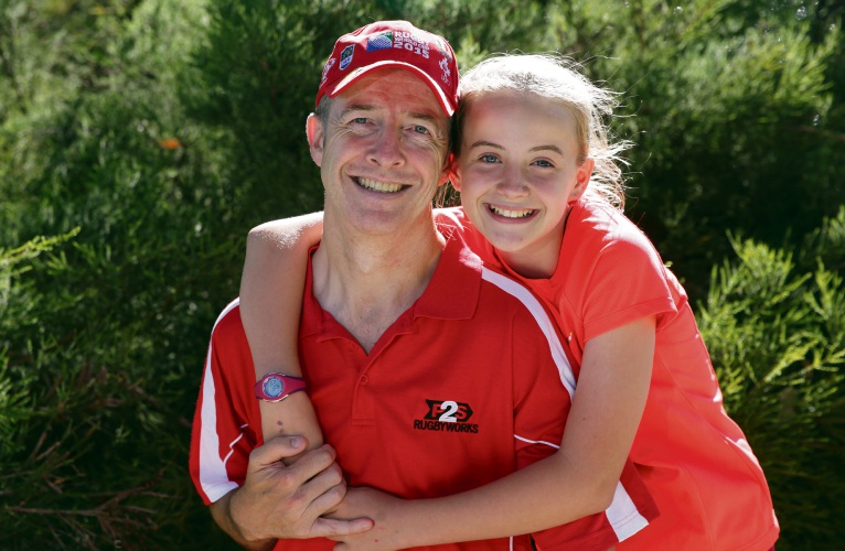 Fraser Griggs (Alexander Heights) and his daughter Erin (11). Picture: Martin Kennealey d480075