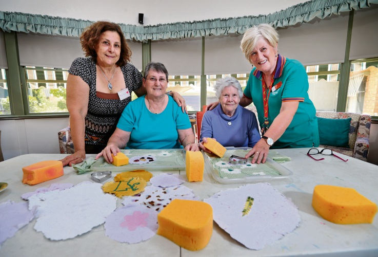 Trudy Sneddon, Maree Pilling, Jill Higginbotham and Jane Farr at a workshop held at the Parry Care Centre in Lesmurdie. Picture: David Baylis d480183