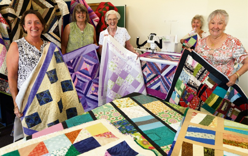 Scrappy Quilters Kathy Chivers, Kathy Cowherd, Margaret Gillon, Theresa Lumpkin and Donna Enright. Picture: Martin Kennealey d480168