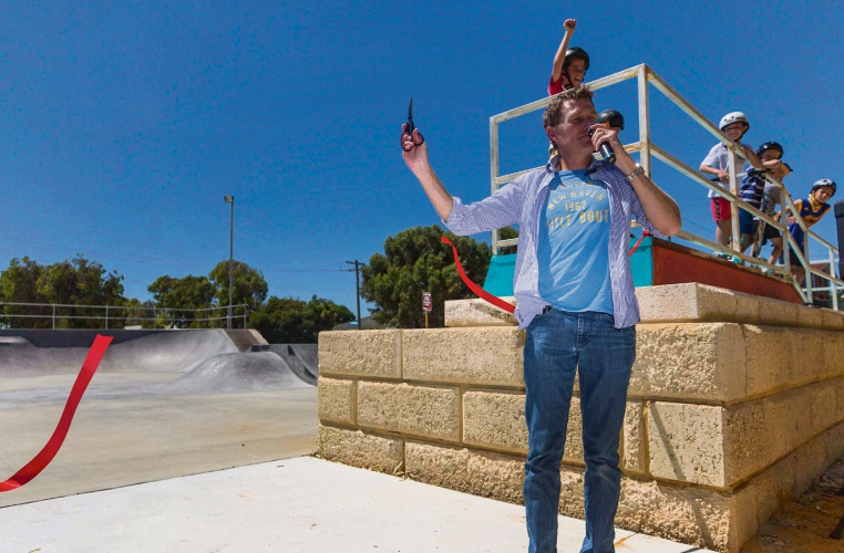 Pearce MHR Christian Porter officially opening the Lancelin Skate Park. Picture: kymillman.com