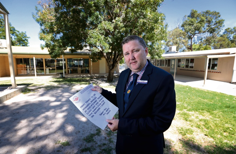 High Wycombe Primary School Principal Rick Walters outside the early childhood area that was badly damaged by vandals. Picture: David Baylis d480357