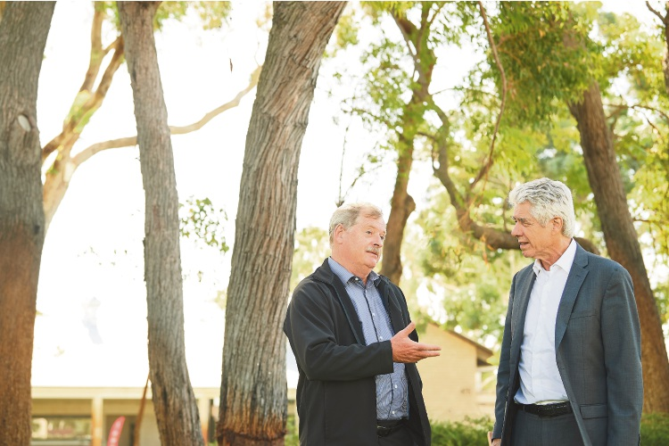 Western Cape's head of Local Government, Environmental Affairs and Development Planning Marius du Randt with Murdoch University Professor of desalination and water treatment Wendell Ela.