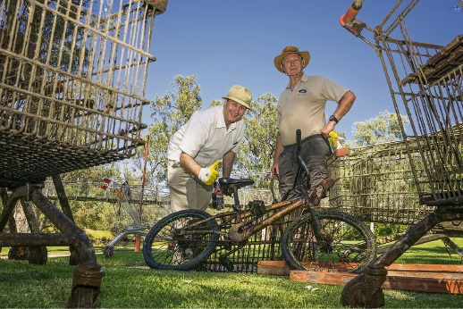 A pushbike was among the items fished out of the Murray River during Clean Up Australia Day. Picture: Josh Cowling