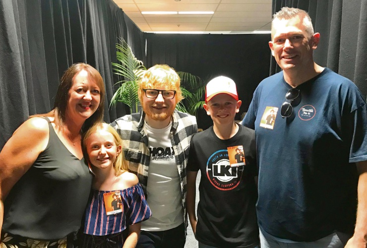 Halls Head family the Smiths - Christine, Charlotte, Mitchell and Chris - met Ed Sheeran backstage before his Perth concert on March 2.