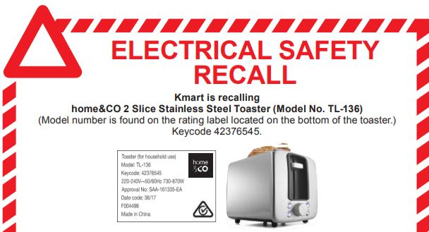 K-Mart issues recall over dangerous toaster