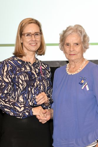 Minister for Women's Interests Simone McGurk and Hazel Butorac at her induction into the WA Women's Hall of Fame.