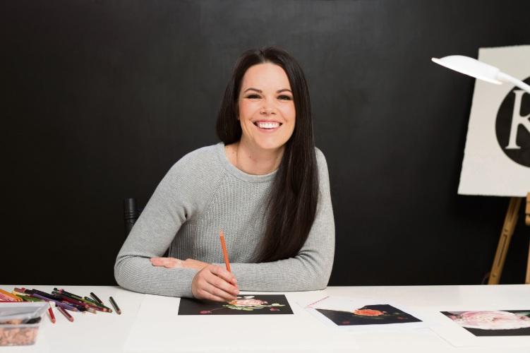 Local artist Katie Gordon in her home studio.