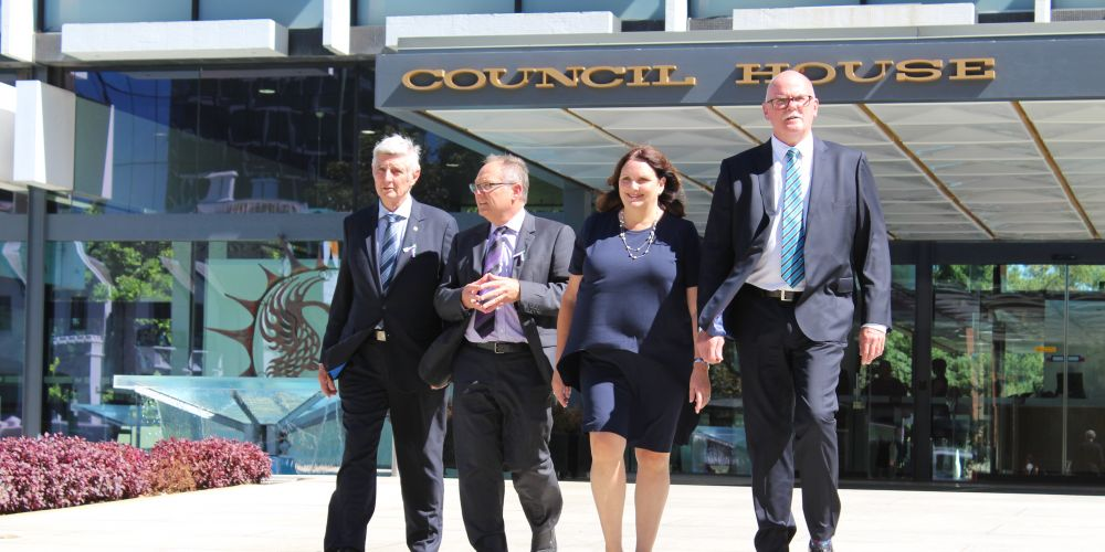 Eric Lumsden, Local Government Minister David Templeman, Gaye McMath and Andrew Hammond. Picture: Lucas da Paz
