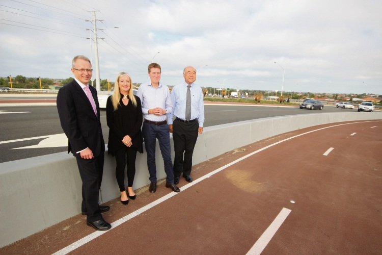 Urban Infrastructure and Cities Minister Paul Fletcher, Wanneroo Mayor Tracey Roberts, Pearce MHR Christian Porter and Moore MHR Ian Goodenough.