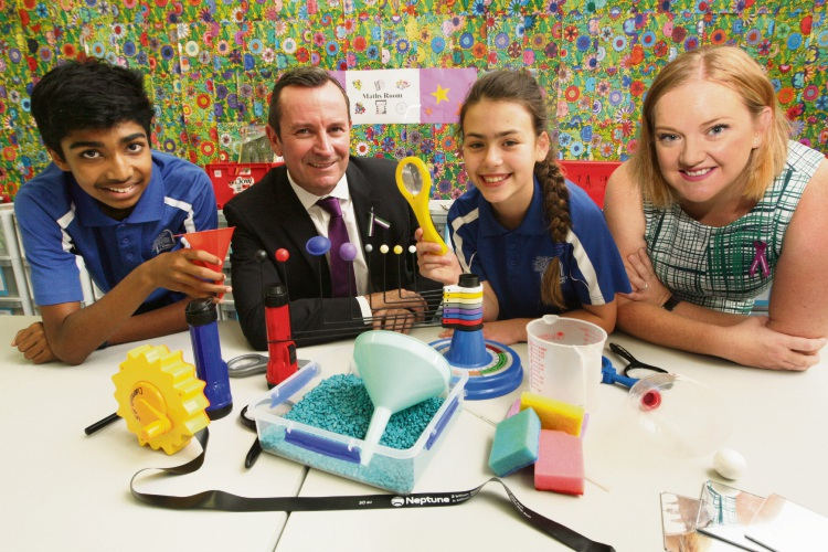 Dalmain Primary School students Saaim Rahman and Bethany Stopher with Premier Mark McGowan and MLA Jessica Stojvoski. Picture: Bruce Hunt d480364