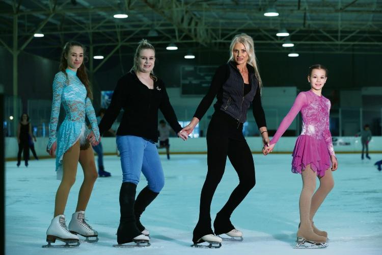 Sophia O'Kane (14), Amber Trevor-Hunt (coach), Judi Skillicorn (coach) and Kaylee Walton (11).