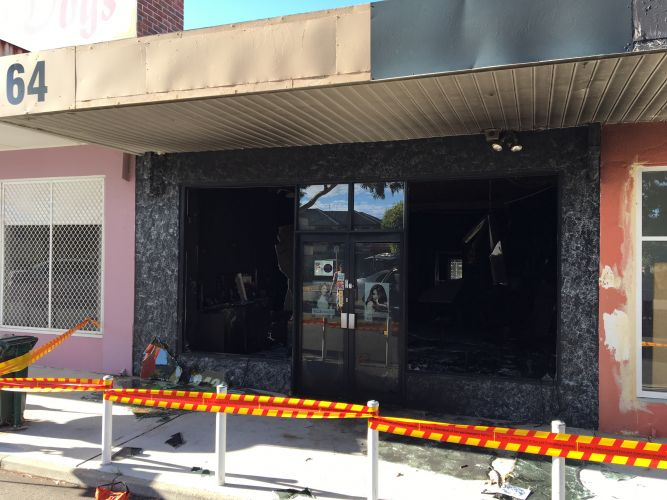 Arson attack: the fire-damaged hair salon in Michael Street, Yokine. Picture: J Bianchini