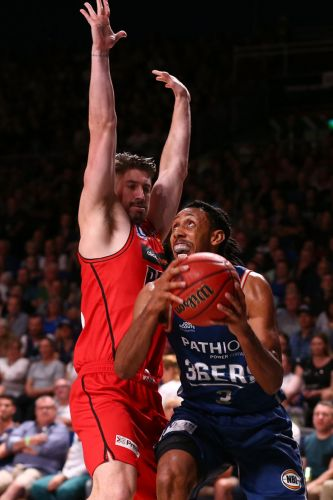 Josh Childress of the 36ers goes to the basket against Greg Hire of the Wildcats during game one of the Semi Final series between the Adelaide 36ers and the Perth Wildcats at Titanium Security Arena on March 3, 2018 in Adelaide, Australia.  (Photo by Paul Kane/Getty Images)