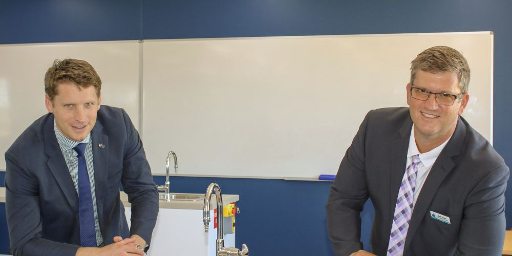 Canning MLC Andrew Hastie with Austin Cove Baptist College secondary principal Paul Venter.