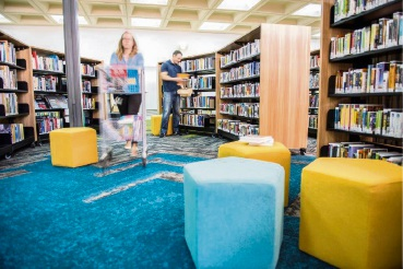 Bright carpets and funky furniture are among new things now at the library.