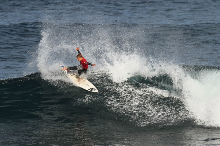 Gracetown's Jed Gradisen was dominant in winning the blue ribbon Under-18 Junior Boys division, on top of the Under-16 Cadet Boys division, at the weekend's WA Junior Surfing Titles at Surfers Point in Margaret River. Image Credit: Surfing WA/Woolacott
