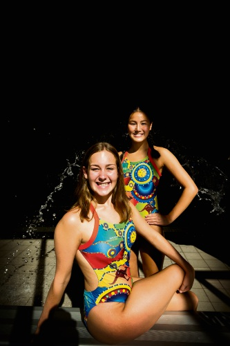 SupaNova synchronised swimmers Celeste Johns (15 - Myaree) and Alessandra Ho (18 - Booragoon). Picture: Will Russell