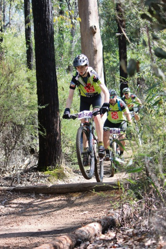 Mountain bikers James Papadopoff, Richard Reeves and Mark Papadopoff. Picture: Kerry Halford