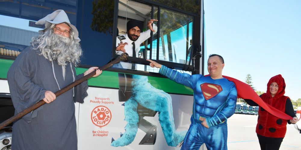 Transperth bus drivers Angus McNaughton, Kuldeep Singh, and Royston and Jacqui Karaitiana.