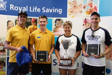 Winning lifeguards from HBF Arena Tim Hulley, Lewis Downes, Isabel Franzoni and Kieren Lawrenson. Picture: Royal Life Saving Society WA