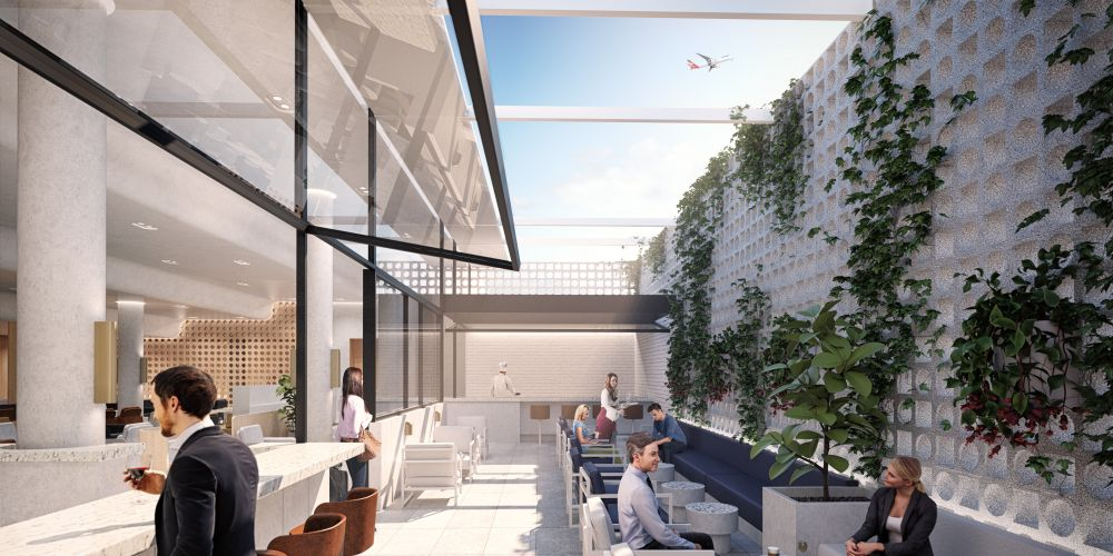 An artist's impression of the exterior area of the transit lounge.