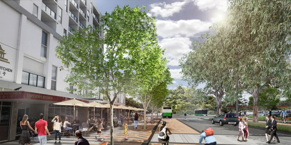 An artist impression of Cecil Avenue after the Cannington City Centre rejuvenation. Picture: Supplied