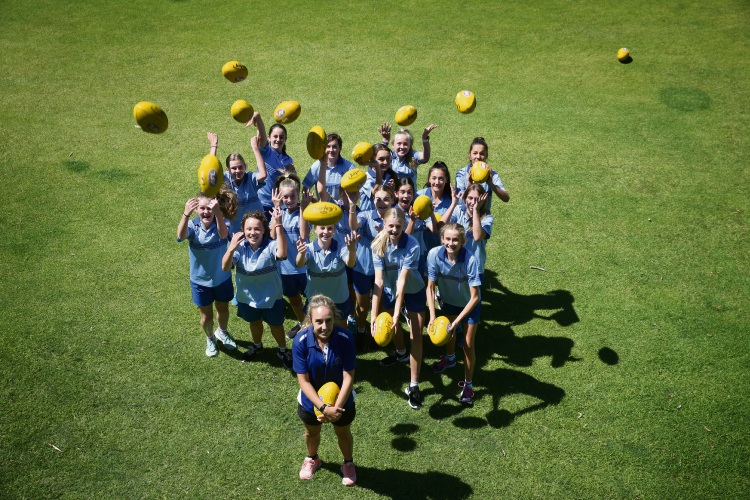 For the first time, Lisa Newman has introduced a Girls Specialist AFL Program at Newman College. Picture: Andrew Ritchie d480038