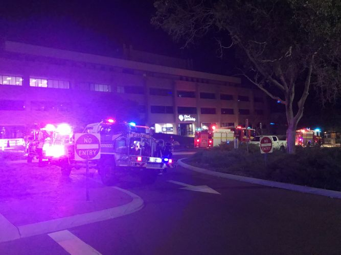 Emergency services at the scene of the fire at the City of Joondalup on Tuesday night. Pictures: Tyler Brown.