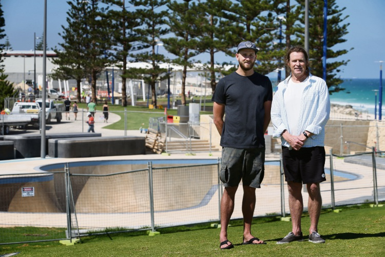 Rip Curl Scarborough manager Mike Counsel and owner Wayne Bowen from the Scarborough Beach Association. Picture: Andrew Ritchie.