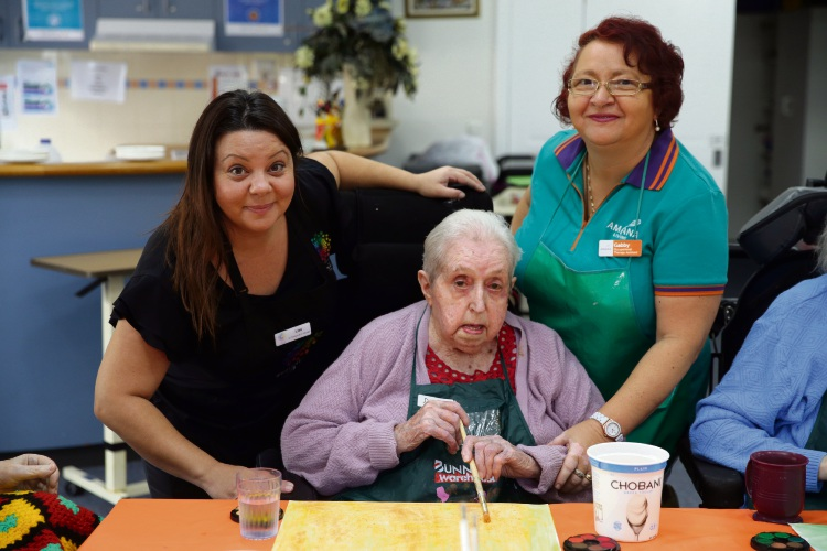 Art therapist and educator Lisa Kempster, resident Dulcie Ellery and Gabriela Tautu occupational therapy assistant. Photo: Martin Kennealey