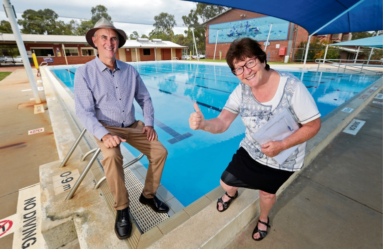 Community representative Joan Quinn and Shire President John Daw at Mt Helena Aquatic Centre. Picture: David Baylis.