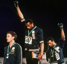 Peter Norman, Tommie Smith and John Carlos at the 1968 Olympics.