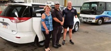 Bizlink's Ro Bloomfield, left, with Michael Sorrell and Glen Hourigan who are both now valued employees of Mandurah Taxis.