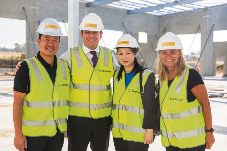 HD Cardboard's managing director Ken Doan, Premier Mark McGowan, Chi Tran and Wanneroo MLA Sabine Winton.